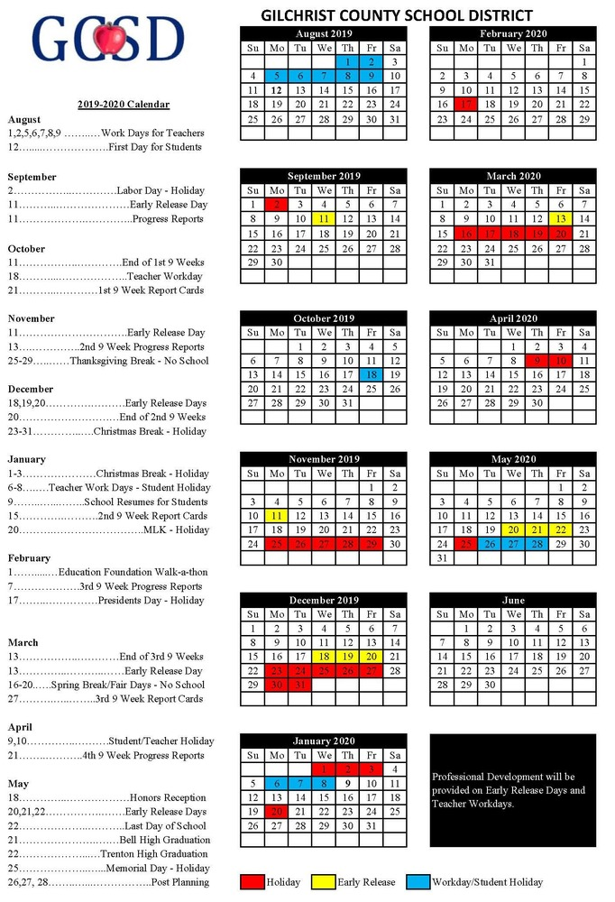 School Calendars Available