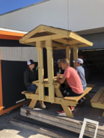 THS Construction Class selling picnic tables