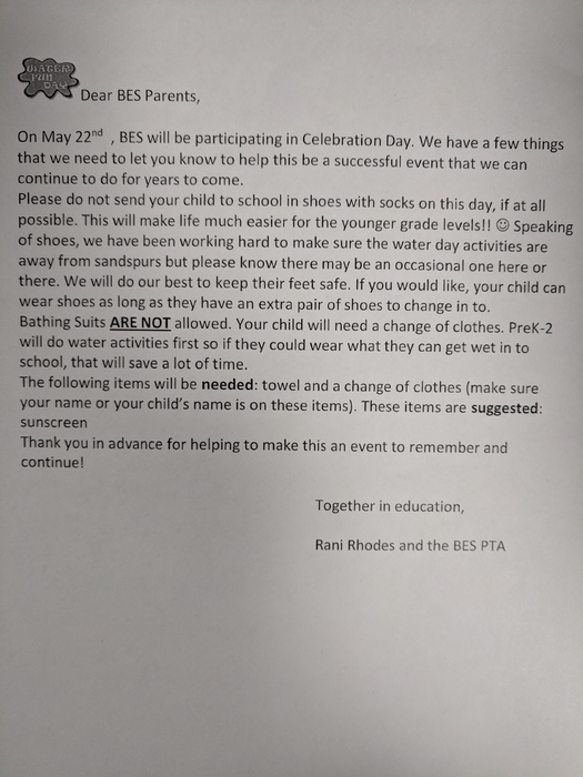 Water/Celebration Day letter