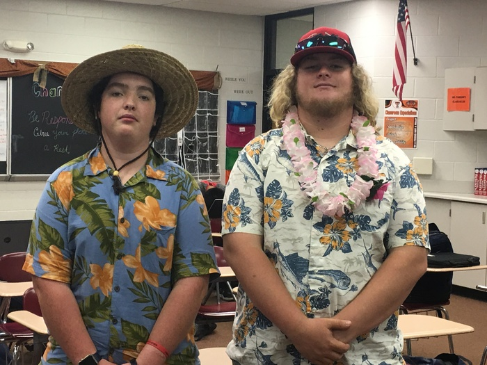 Students dress in their favorite beach attire.
