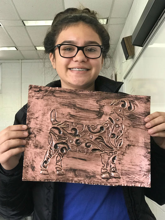 Art Student with their project